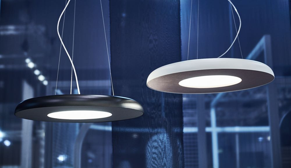 Ism Object's new acoustic pendant light range called 'Teamwork'.The LED light uses a new acoustic material to absorb reflected sound from table tops with surprising results. Photograph by Mike Baker.