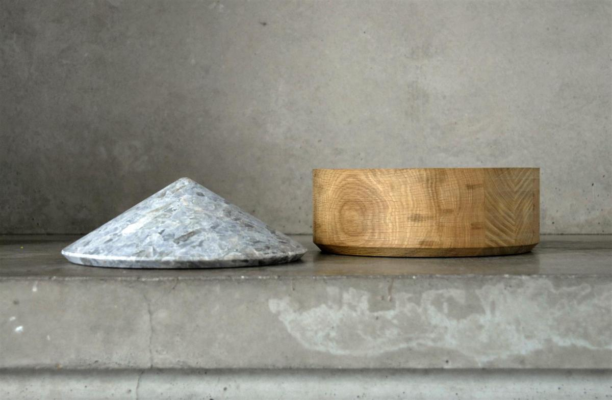 An oak 'Coupe' container with an amazing stone lid by Michaël Verheyden.