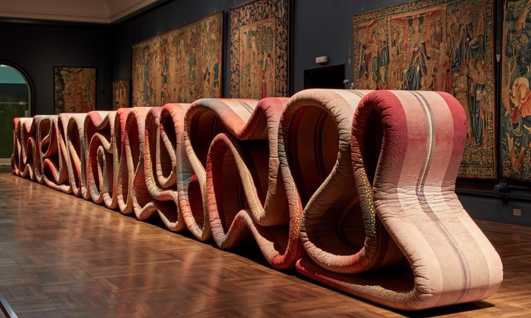 Ross Lovegrove's worm-like installation  Transmission  in the V&A's famous Tapestry Room. Installation supported by Alcantara.