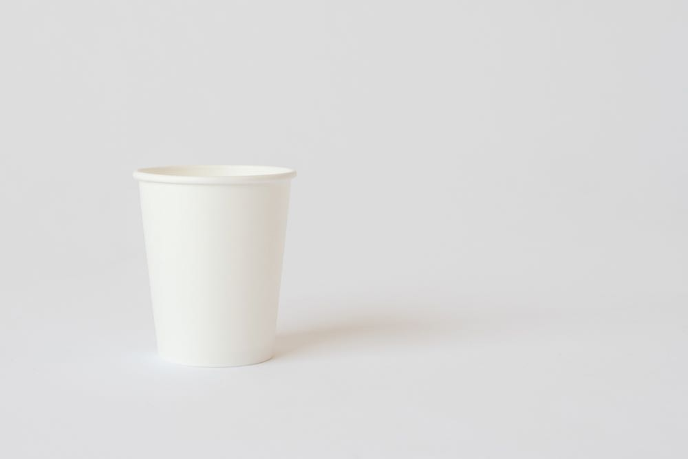Paper takeaway cup selected by Kosho Tsuboi for Nic Rennie's exhibition  Undervalued .