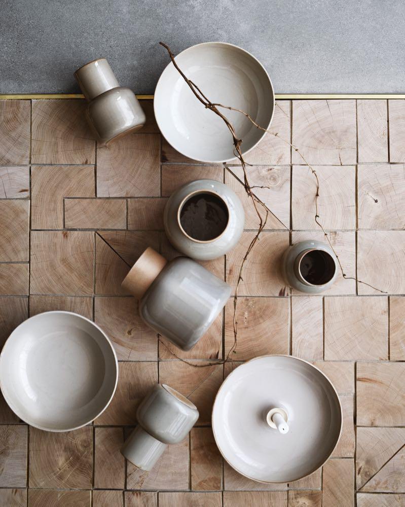 Manz's 'Earthenware' ceramics range for Fritz Hansen. Beguiling shapes and soft colour.