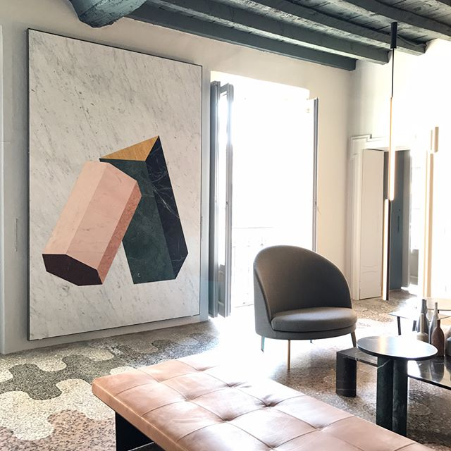 A scene from the Salvatori apartment by Elisa Ossino that was on view during Salone del Mobile 2017. The artwork is made from marble cut with immense precision by Salvatori.