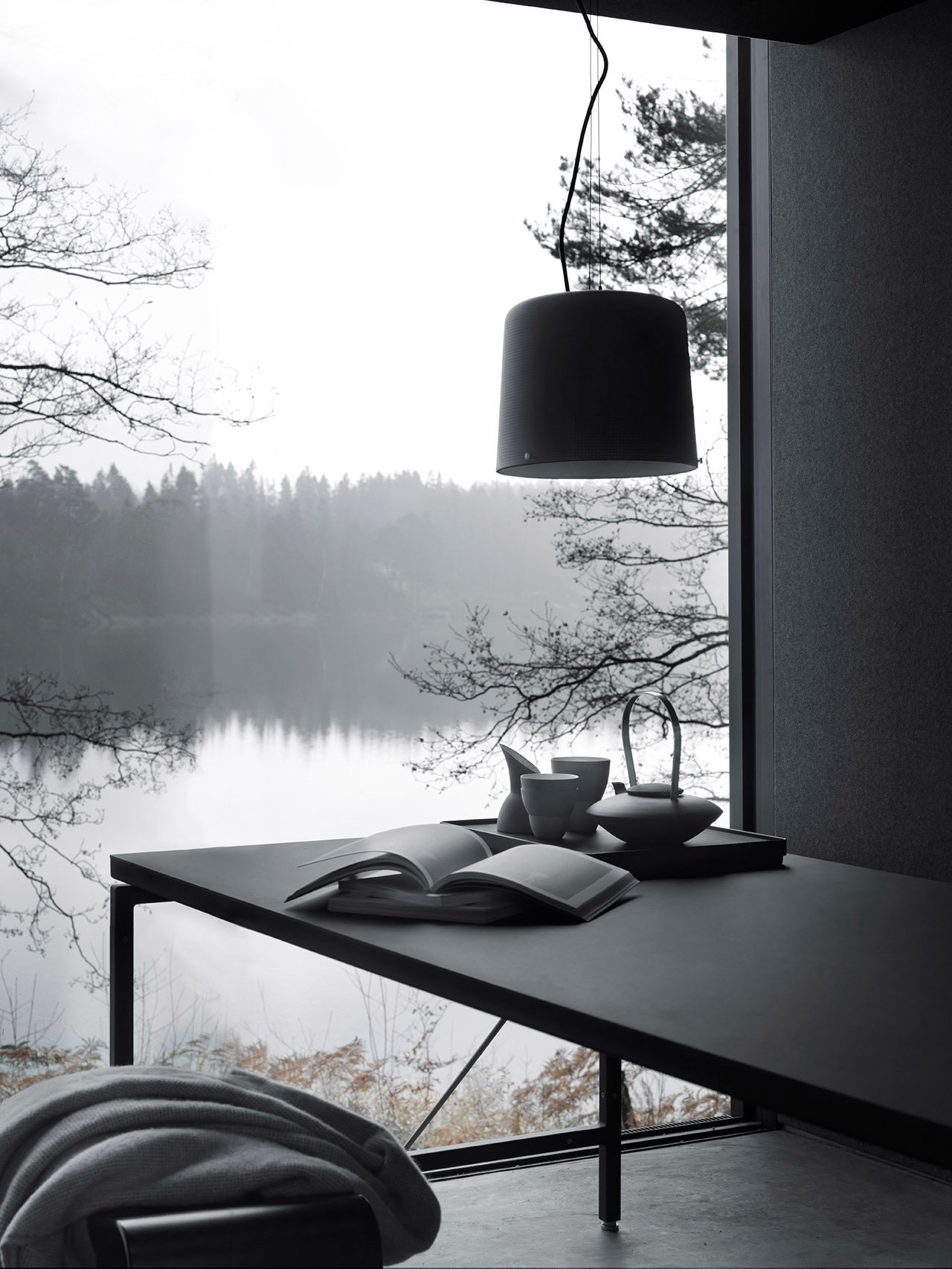 The dining area of the Vipp 'Shelter' in Immeln, Sweden.