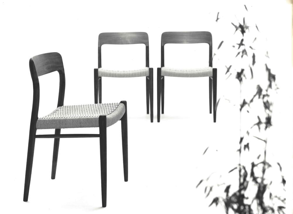 A sixties photograph of the JL Møller Model 75 chair designed by Niels O. Møller in 1954.