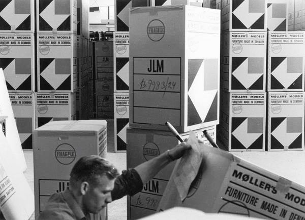 An archive image of the JL Møller factory from the 1950's.