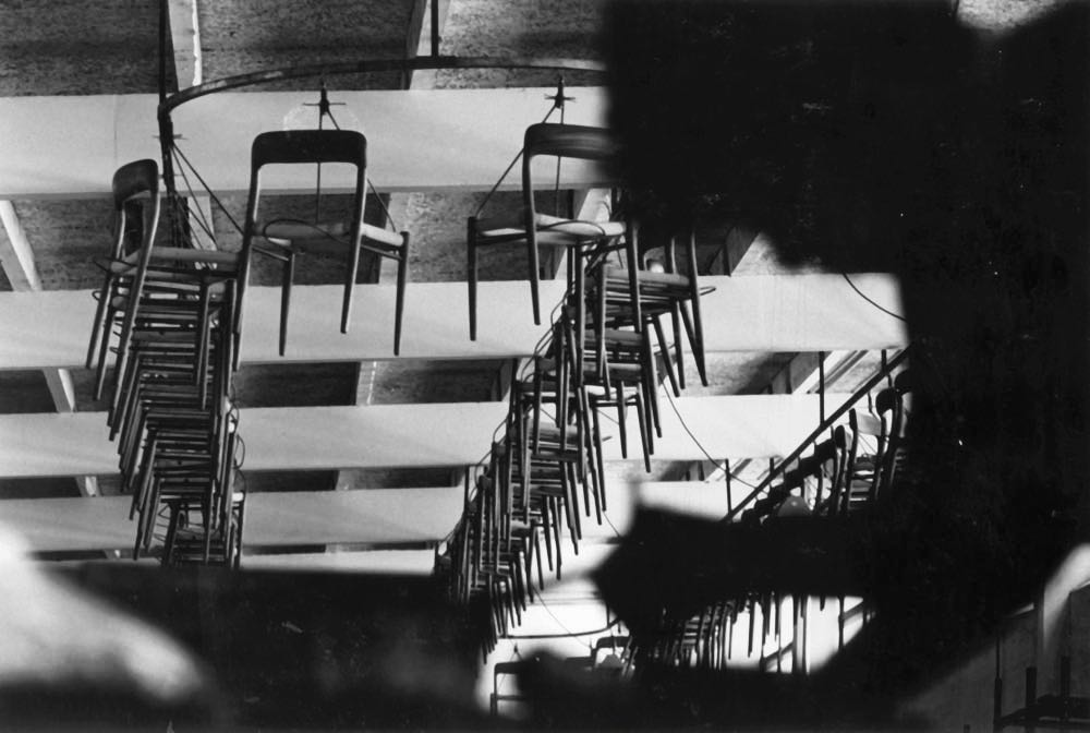 Archive image showing the JL Møller factory's aerial chair conveyor system.