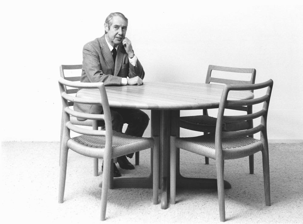 Niels O. Møller sitting in the last chair he designed, the Model 85 in 1981.