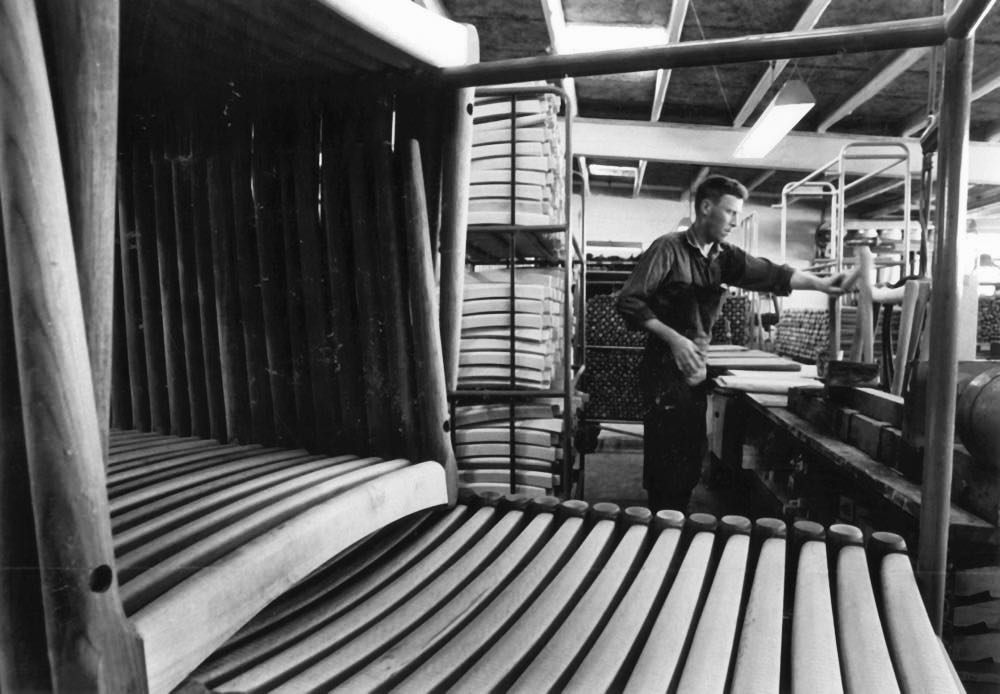 An archive image of the JL Møller factory from the sixties.