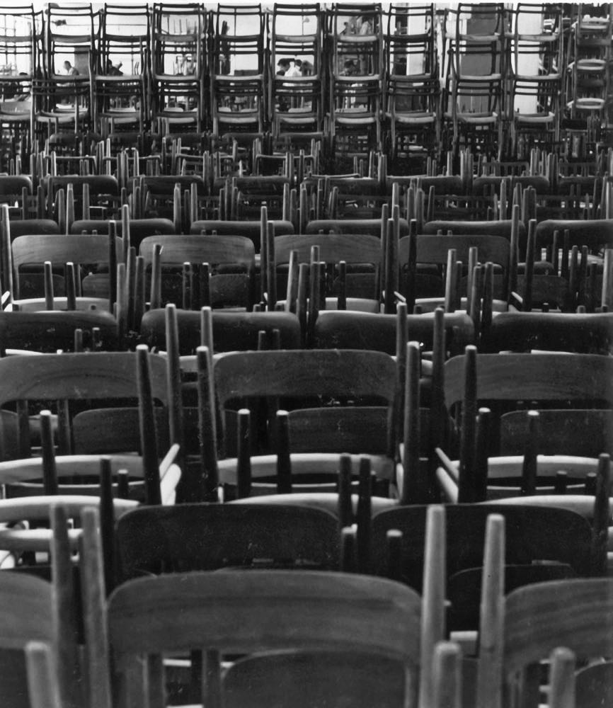 An archive image of the type of quantities of JL Møller Model 75 chairs that were being made to fulfil orders in the 1950's.