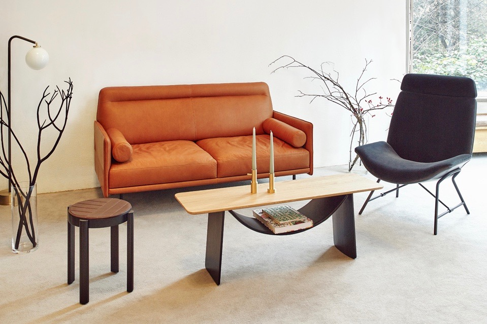 Monica Förster's 'Melange' group of furniture pieces for Wittmann: sofa, stool, coffee table and chair - the non matching elements creating a much looser eclectic look.