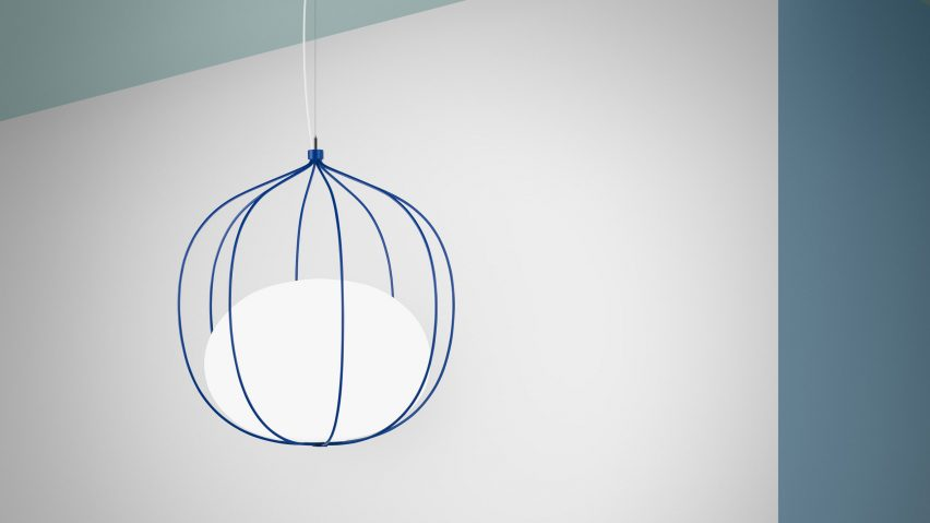 Front Design's new lamp for  Swedish lighting company Zero  is called 'Hoop' and features a squashed sphere of opaline glass suspended in a wire cage. The illusion of trapped glass is made possible by threading the electrical wires through the fine frame and up into the base of the glass