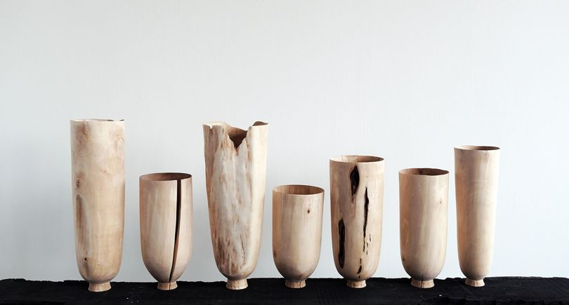 'Birch Standing Vessels' by Max Bainbridge and Abigail Booth of Forest & Found (Collect 2017).