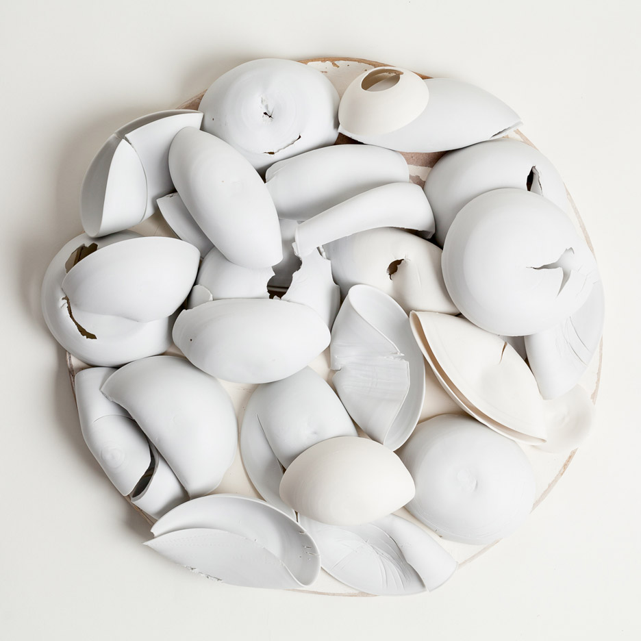 Sue Paraskeva's 'Circle of Porcelain' in raw and fired porcelain.