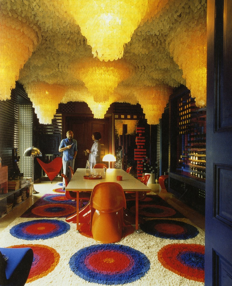 Panton's own house in Binningen, Switzerland in 1972 featuring his incredible shell light feature. The installation is like a grotto yet is surrounded by bright colour and bold geometric shapes.