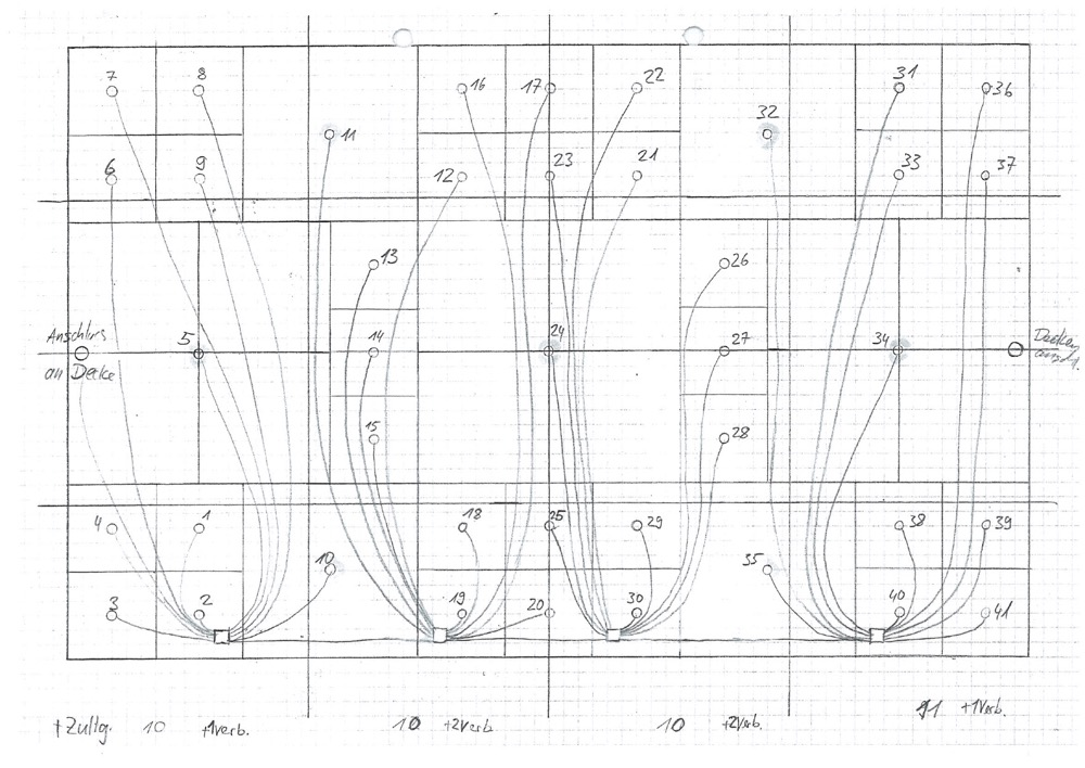 An electrical sketch for the installation of the Panton Stube fitting.