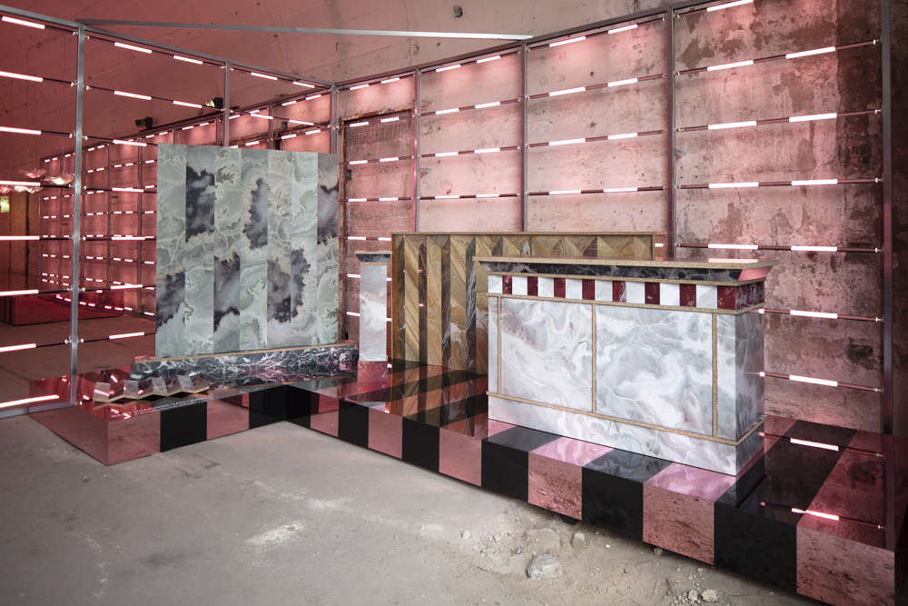 Transitions III - an installation by Baars & Blömhoff. Shown here is 'Romancing the Stone' - mock marble cabinets and screens designed by  Bart Joachim van Uden . Totally made from laminate, the work becomes about shapes and patterns rather than the inherent quality of the material.