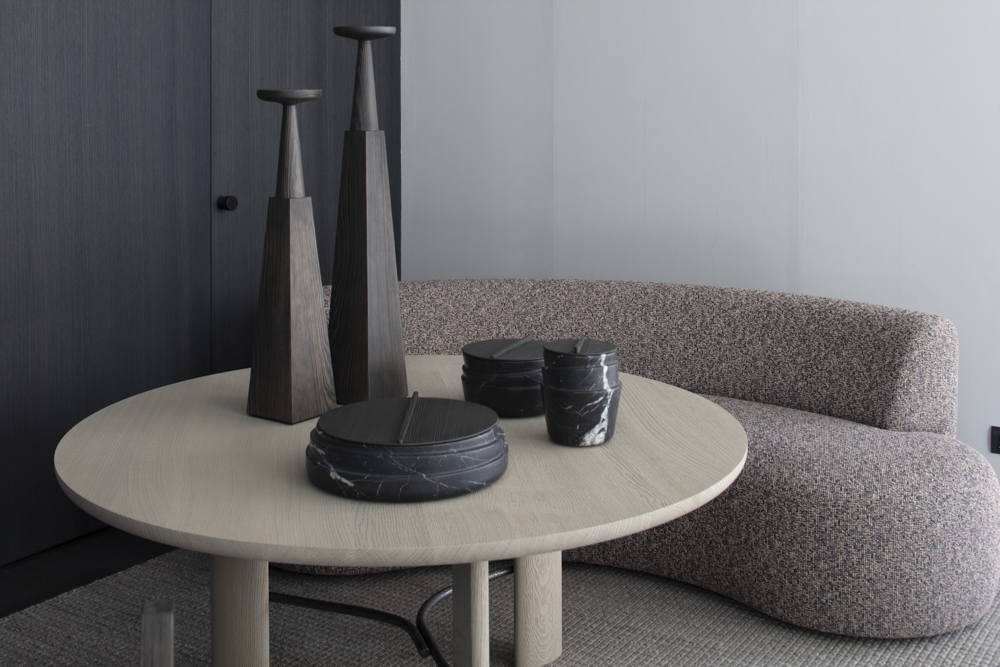 Christophe Delacourt at  Spotti Milano . The new collection delivered a wonderful combination of exquisitely crafted materials and very simple but bold shapes.