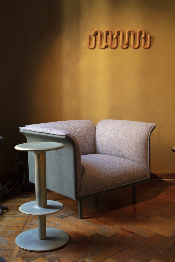 'Lounge chair' by Ross Gardam, 'Rev' stool by Adam Cornish and coatrack by Fred Ganim - all at LOCAL DESIGN Via Cesare Correnti 14 Milan.