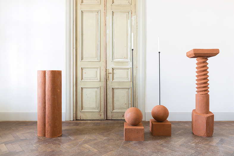 New 'Life On Earth' pieces from Rooms. Rustic architectural plinths and objet d'art in terracotta. The show  Sculpting in Time , celebrated the studio's 10th anniversary. Photo courtesy of Rooms.