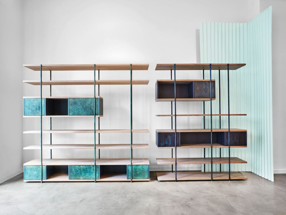 Giacomo Moor's 'Pivot' shelving for SEM (Spotti Edizioni Milano). Photo by Omar Sartor.