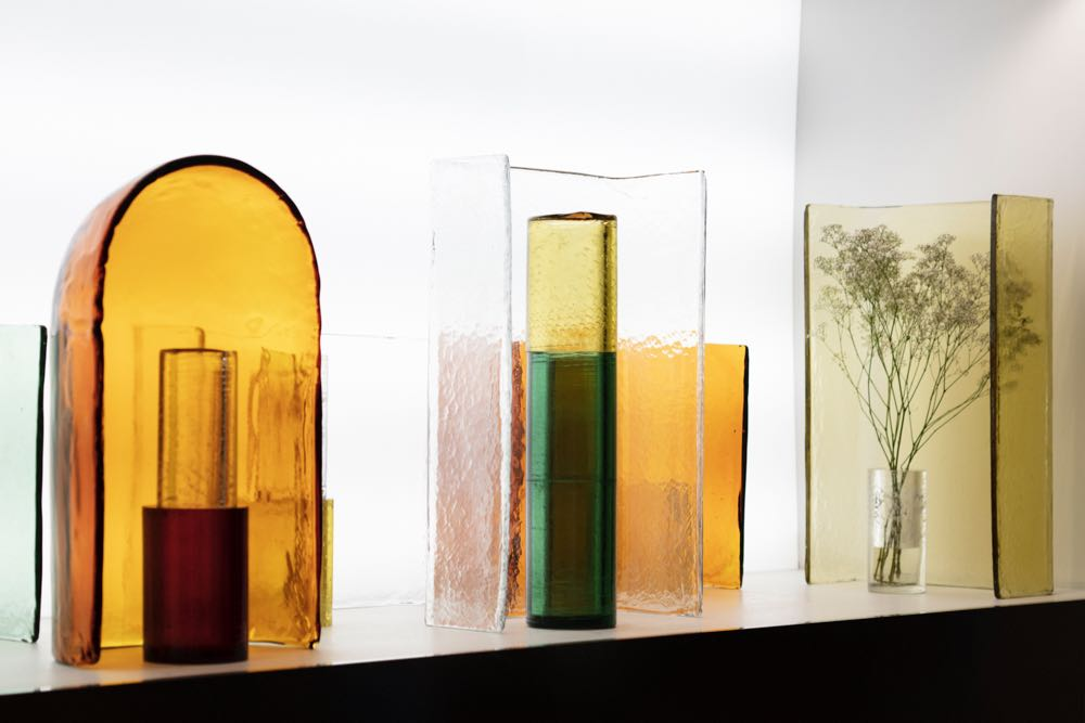 The Bouroullec 'Alcova' vase design for WonderGlass premiered at the  Kosmos  installation. Underwhelming as a prototype in strong red and green, the vase system came alive when created in more subtle colours and displayed in several layers with the textures, shapes and colour combining beautifully.