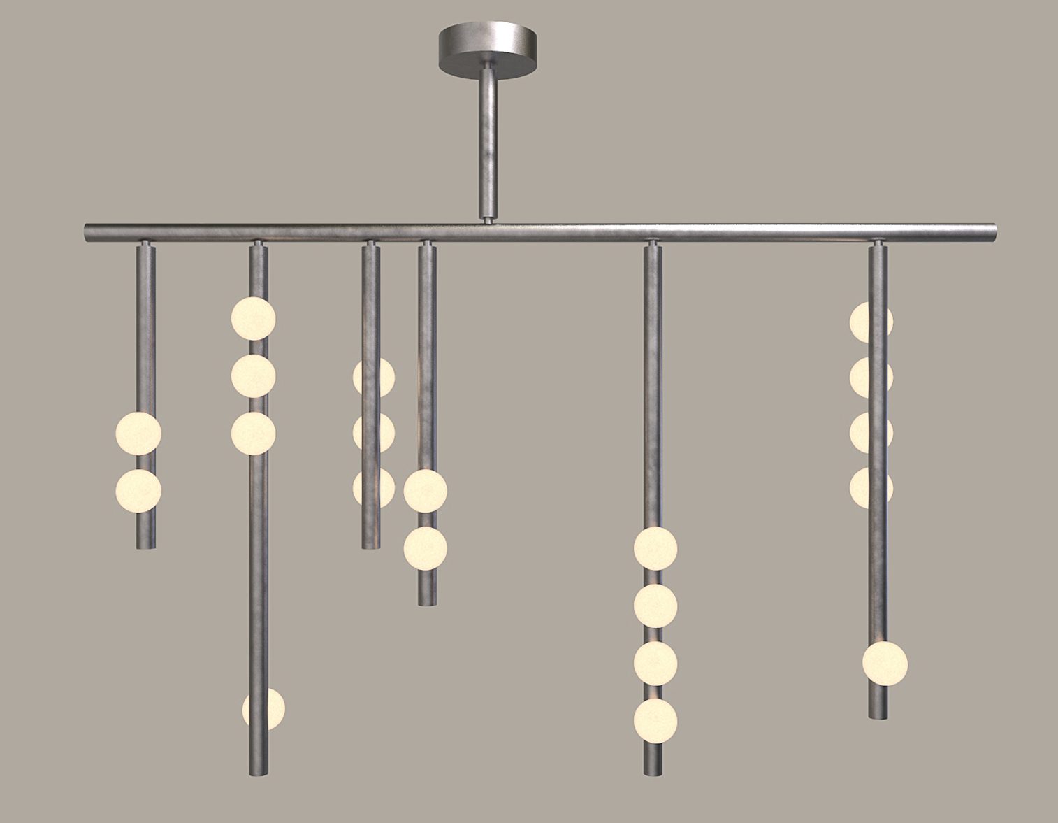 Lindsey Adelman's  new 'Drop' lighting system in aged nickel - just one of the many configurations and finishes the light is available in.