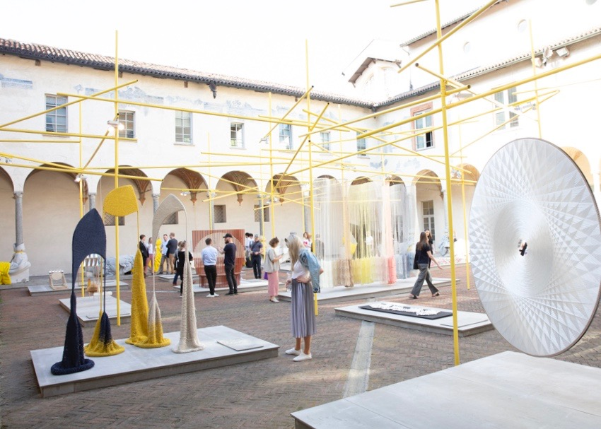 The Danish Art Foundation's   Mindcraft 18     show is always high on the Design daily list of must-see events during Milan Design Week. The San Simpliciano cloister is always remarkable and the objects range from interesting to mind-blowing. The sound absorbing 'Sun Disc' (right)is by Cecilie Bendixen. The woven work (left) is called 'Dissolved into the fabric by Isabel Berglund.