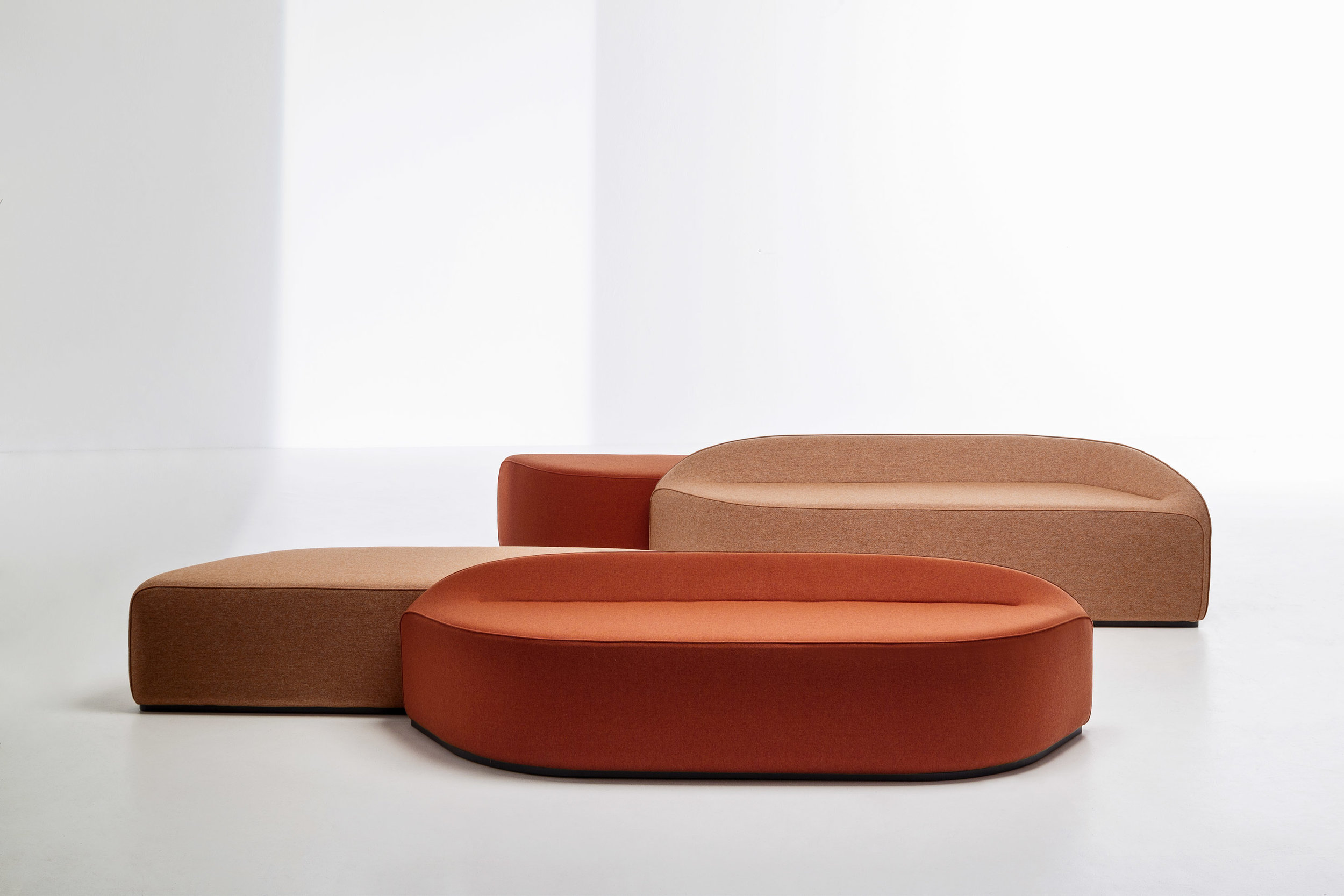 'Waves' seating by  Constance Guisset  for  La Cividina . A lightweight wire frame tightly upholstered with fabric, the various elements of the 'Waves' collection can be held together by concealed magnets.