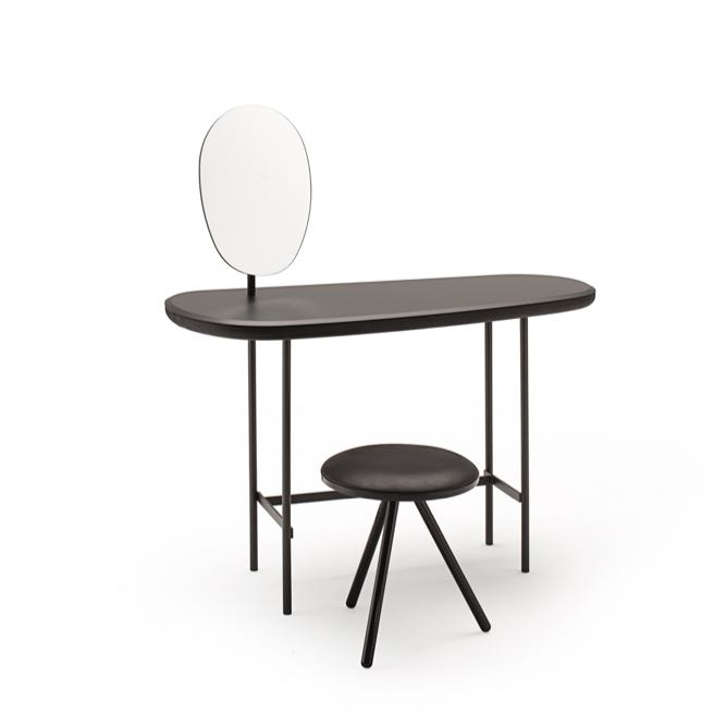 The 'Pebble' vanity / desk by  Lanzavecchia + Wai  and 'Kiwi' stool by  Keiji Takeuchi  - both for  Living Divani.