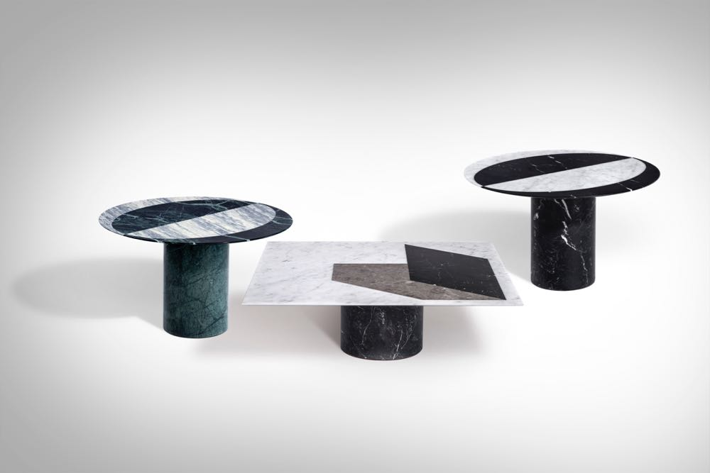 Elisa Ossino 's 'Proiezioni'side and coffee tables for  Salvatori  are based on shadow play, albeit using slivers of solid marble.