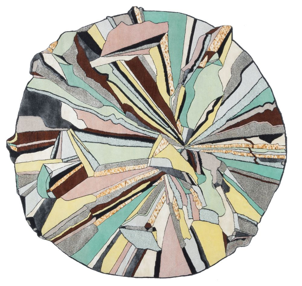 Bethan Laura Wood's  high-powered rug SUPER FAKE for  cc-tapis.  The round version is one of four shapes offered by Milan hand knotted rug specialist, cc-tapis. In Bethan's immutable style, several other of the shapes in the collection are like shards of rock.