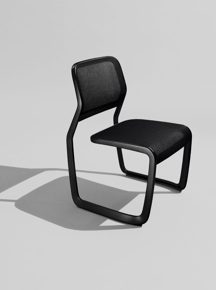 The 'Marc Newson Aluminium Chair' by Marc Newson for Knoll. The reverse cantilever design is quite unusual, as is the open quality of the cast frame.