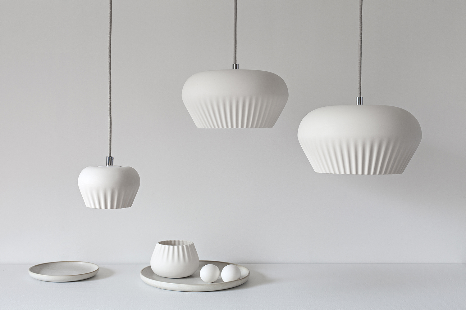 Stoft Studio's 'Shell' pendant lights in porcelain.