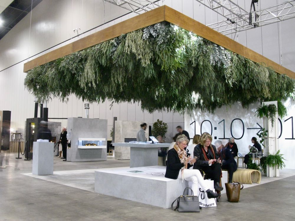 The DIA (Design Institute of Australia) stand 10:10 with native fauna canopy.