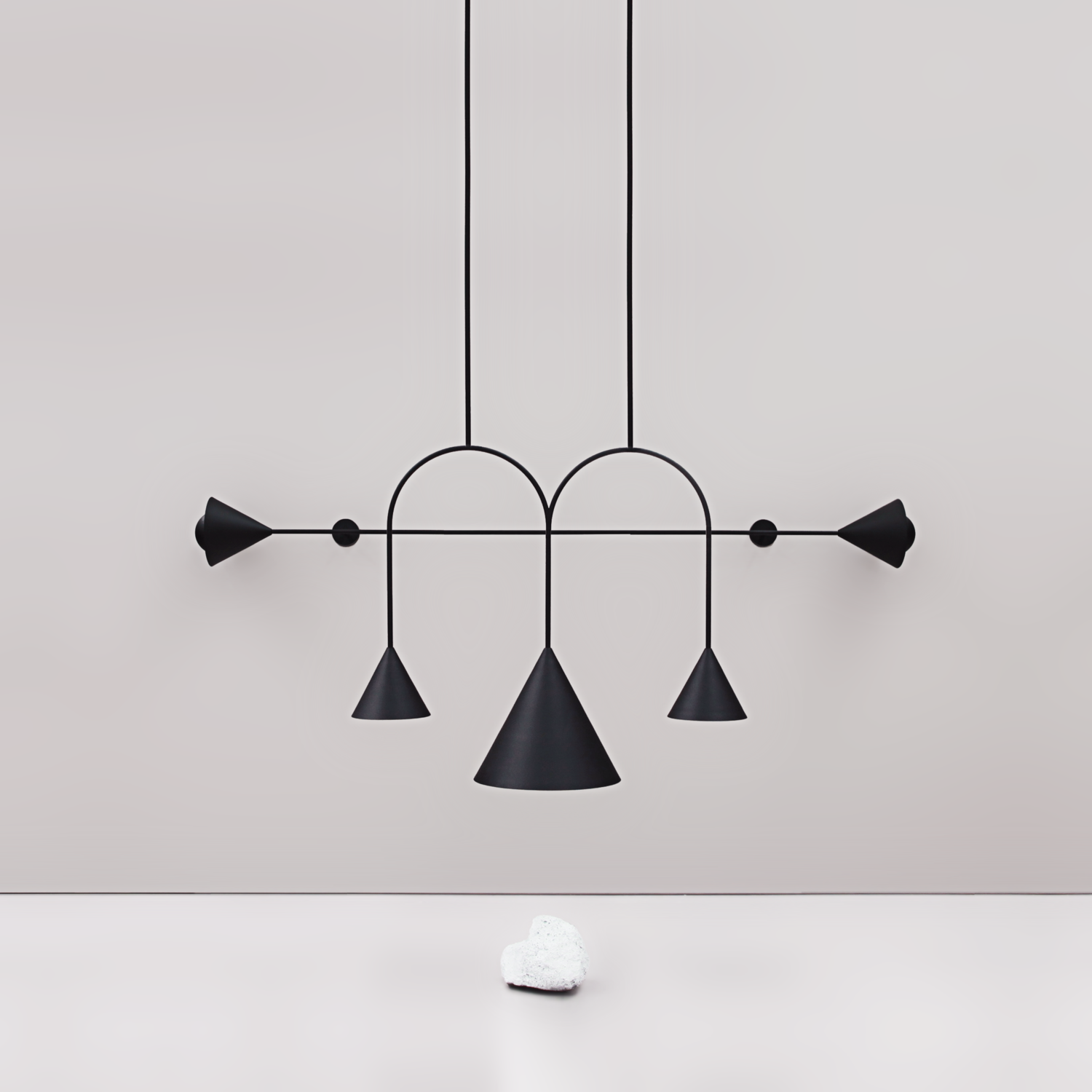 The 'Conehome' arch and stick series pendant lights / chandeliers from LAAL.