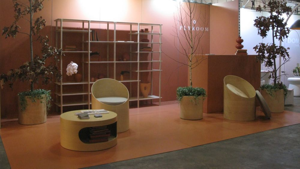 The Plyroom stand at DENFAIR 2018 - Autumnal colours and blonde plywood.