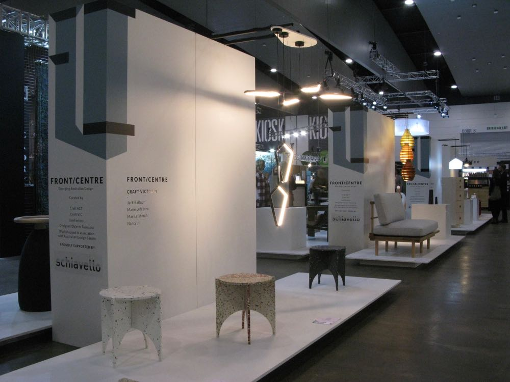 The Front / Centre exhibition, sponsored by highly established furniture company Schiavello. Shown in the foreground are the 'Archie' flat pack terrazzo tables by Victorian designer, Nancy Ji.
