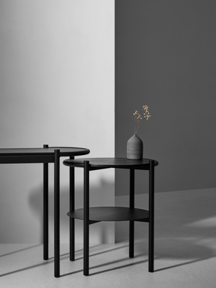 Foam Design's double and single side tables in powder coated steel and black stained oak.