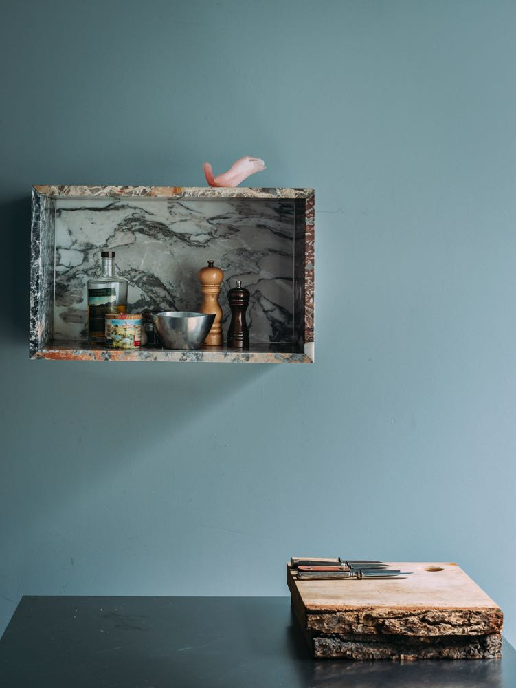 Muller Van Severen's storage cabinet in exotic marbles.