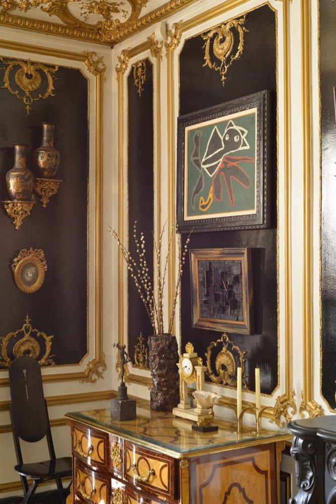 The opulent and visually complex home of Michael Coorengel and Jean-Pierre Calvagrac in Paris.