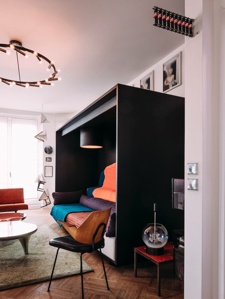 A unique sofa design by Ronan & Erwan Bouroullec is a key feature of the Paris apartment of Clémence & Didier Krzentowski.