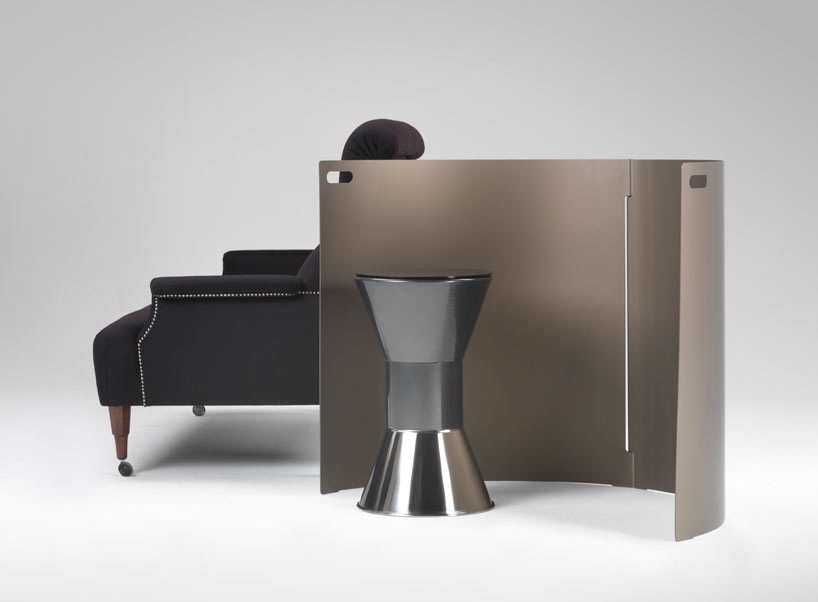 The Entre-Deux screen by Konstantin Grcic for Azucena 2011. The ABCD armchair and Metal stool - both by Dominioni.