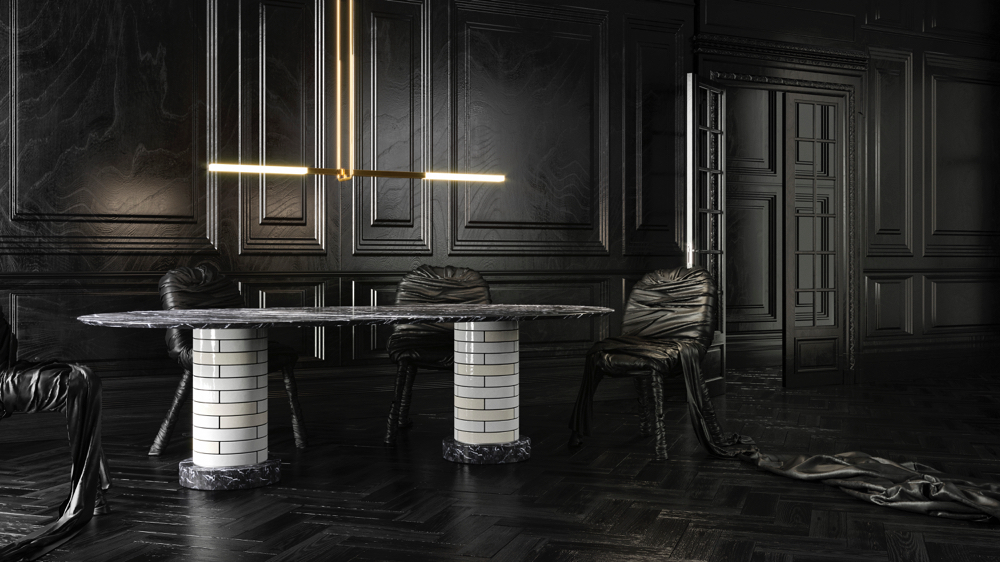 Porcelain Bear's 'Flatbar' pendant from the Acrobat series with their double pedestal 'Metro' dining table.