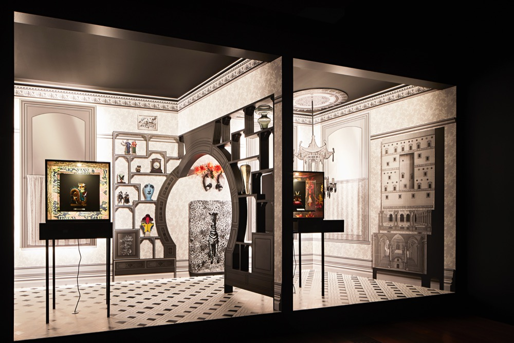 The installation of Scott Weston Architecture and Design. Six contemporary expressions of the cabinet of curiosity provided 3-D fascination against 2-D room treatments created specially for the competition. Only two are shown here with three rooms sets positioned back to back.