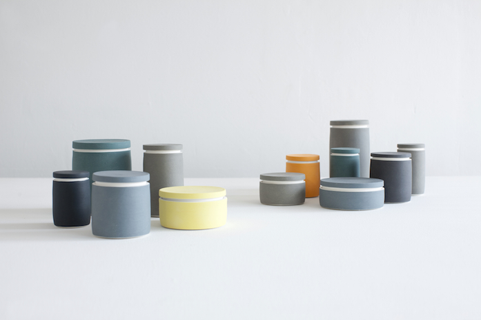 The colour palette of Wilson's vessels are as important as the shapes. These lidded vessels from his 2012 series  We All Contain Things  are restrained in tone but have a definite power when grouped.