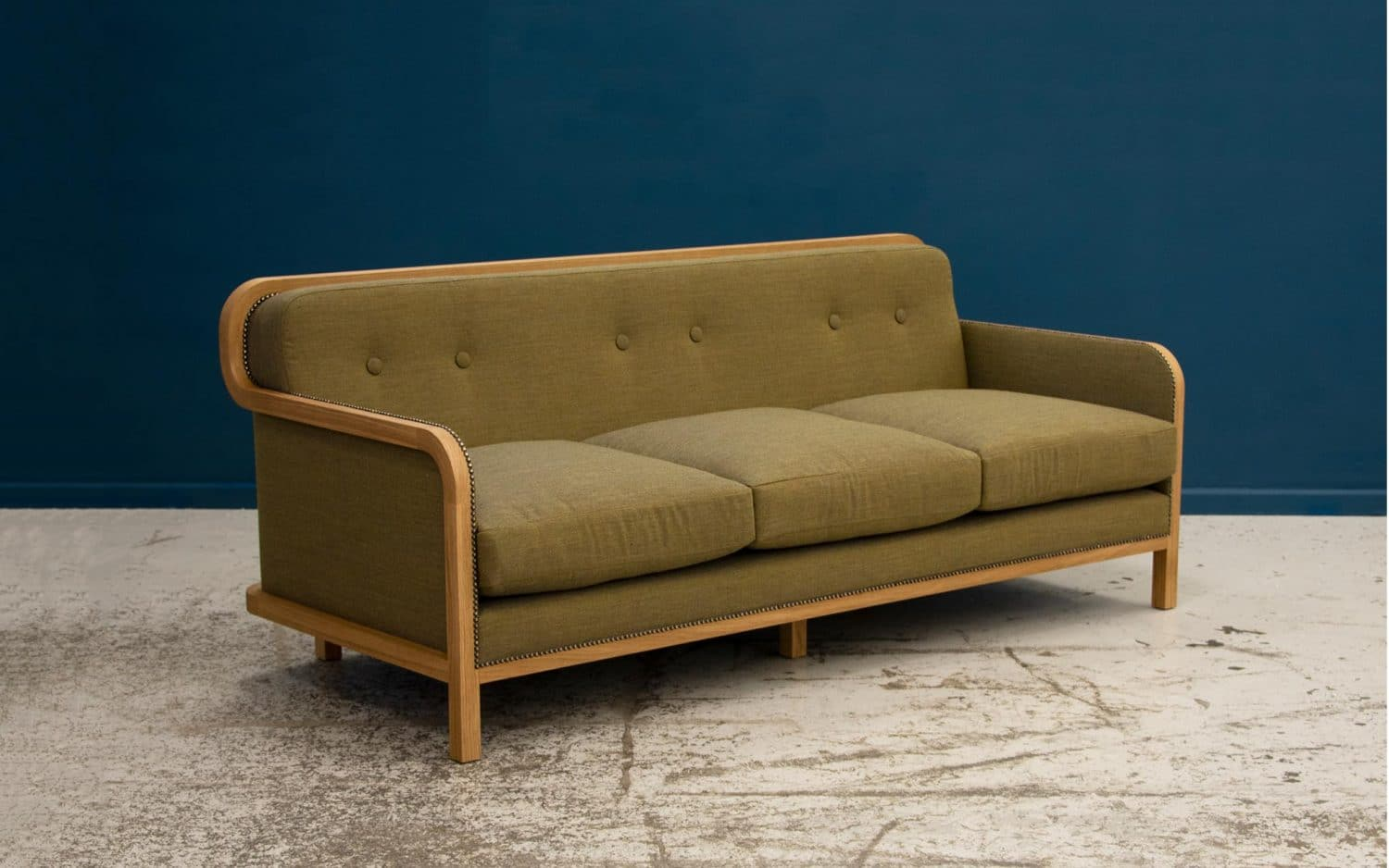 Piet Hein Eek's sofa 'Home' for SCP, shown here in Kvadrat Canvas fabric.
