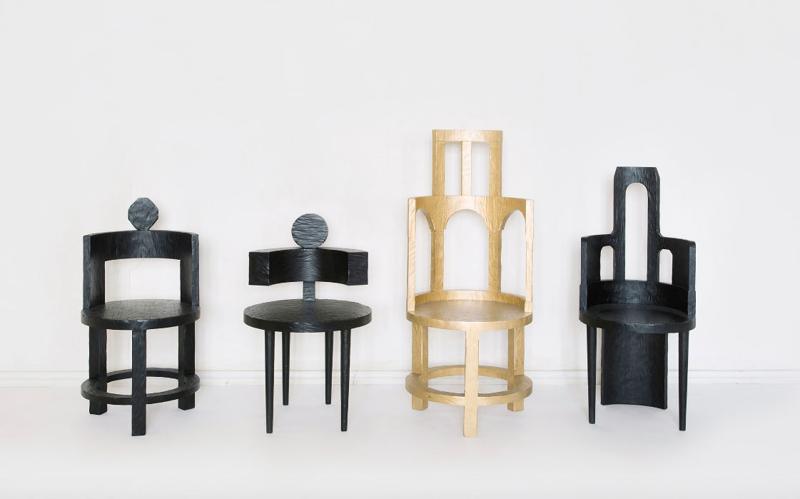 'Sculptural chairs' by Rooms, from The Art of Sitting exhibition ToolsGalerie Paris.