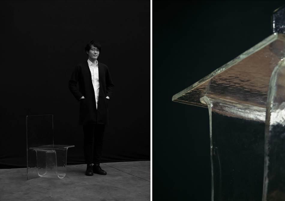Oki Sato of Nendo with his slab glass 'Melt' chair for Wonderglass.