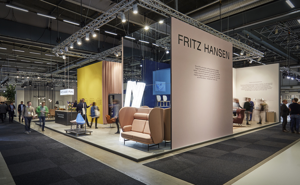 The Fritz Hansen stand featured new colours of Arne Jacobsen's 'Drop' chair and a new black version of the 'Tree' coatstand.