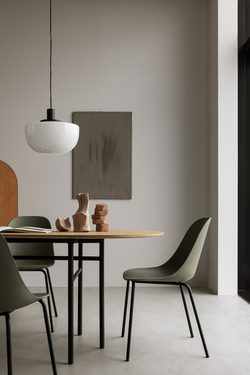 The 'Harbour' side/dining chair is a new addition to that enduring collection. It is shown here around the 'Snaregade' table with Norm Architect's new 'Bank' opaline glass pendant above - all by Menu.